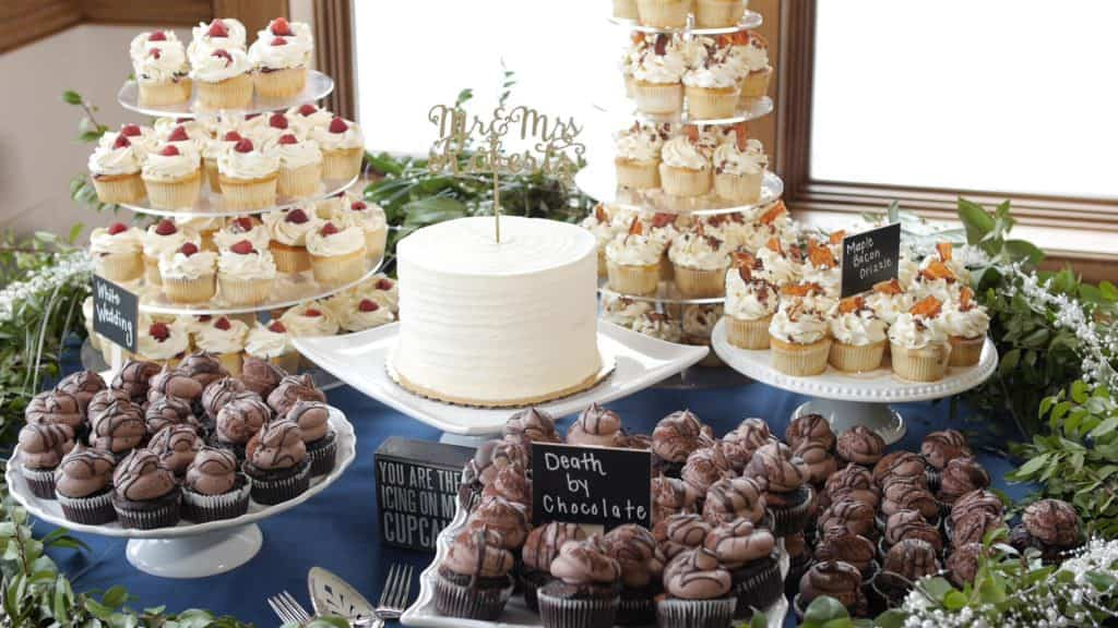 Wedding Cake and Cupcake Table