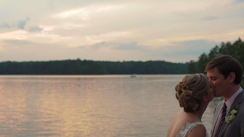 Bride Groom Lake Kiss