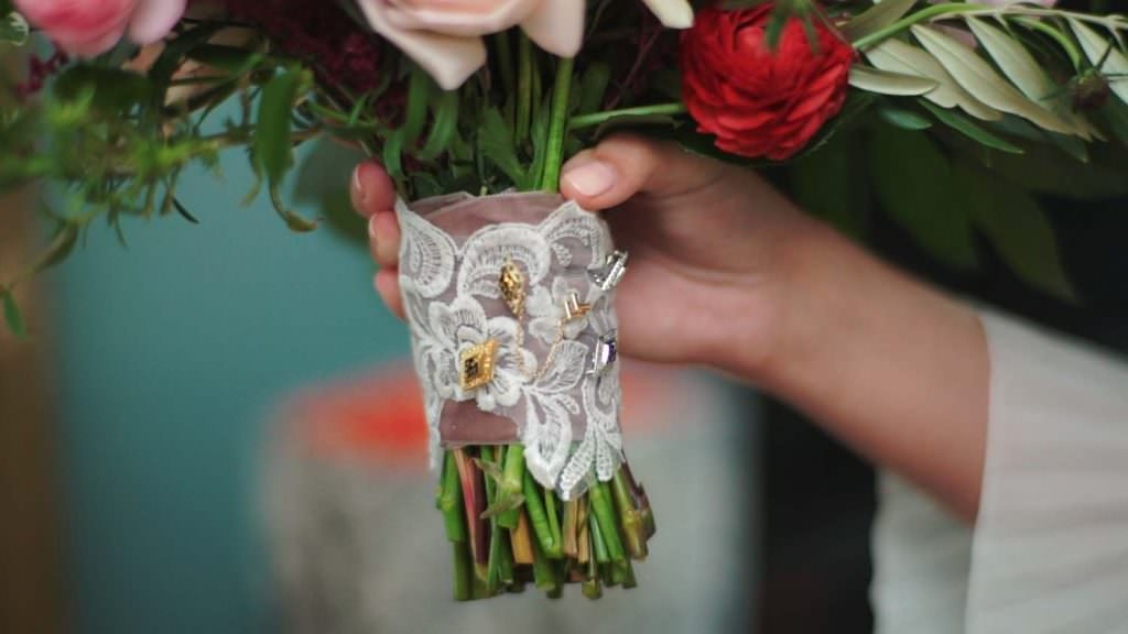 Sorority Pins on Wedding Bouquet