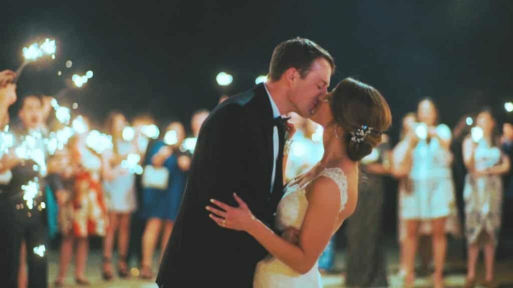 Wedding Sparkler Exit Kiss
