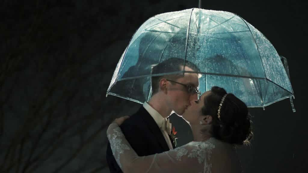 Bride and Groom Clear Rain Umbrella