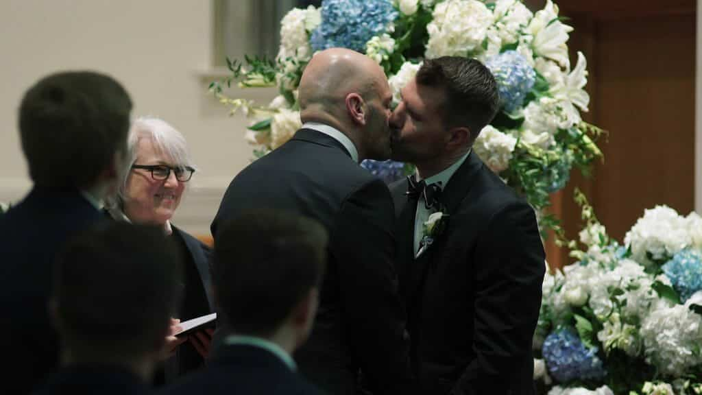 Gay Wedding First Kiss