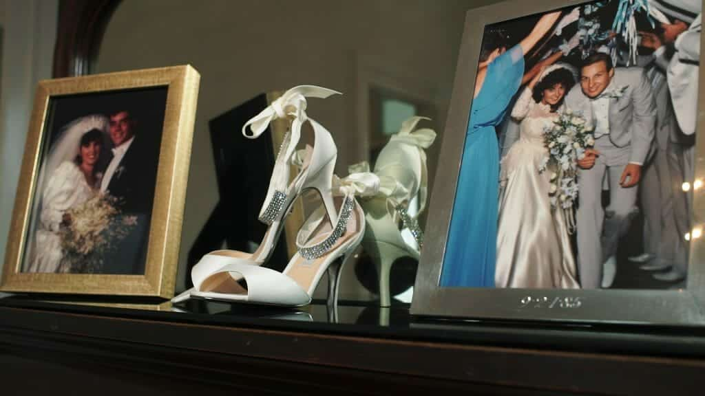 Wedding Shoes Beside Photo