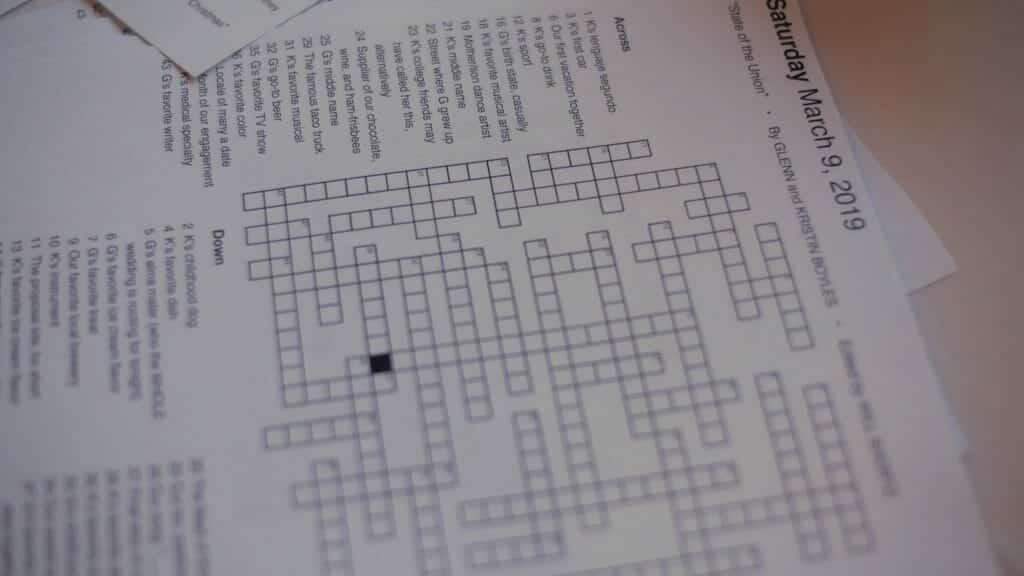 Wedding Crossword Puzzle