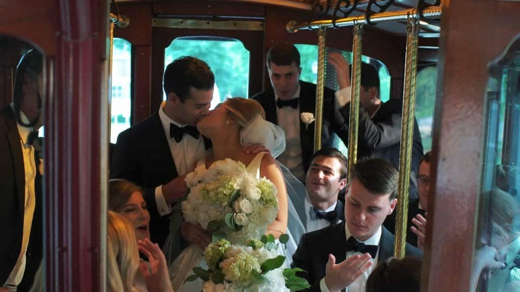 Wedding Trolley Kiss