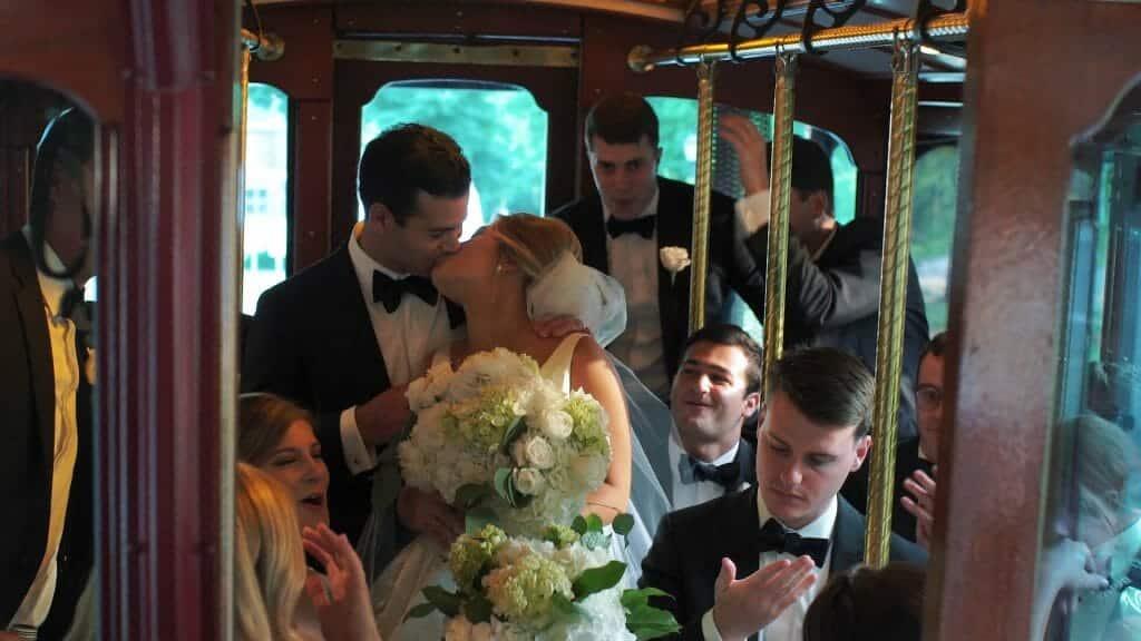 Wedding Trolley Kiss